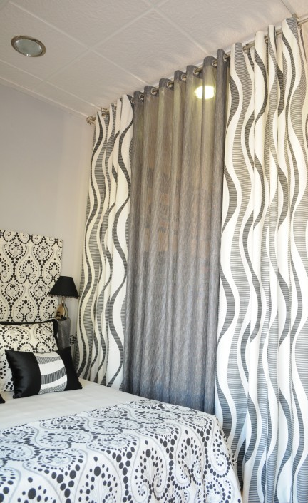 Curtains, cushions, headboard