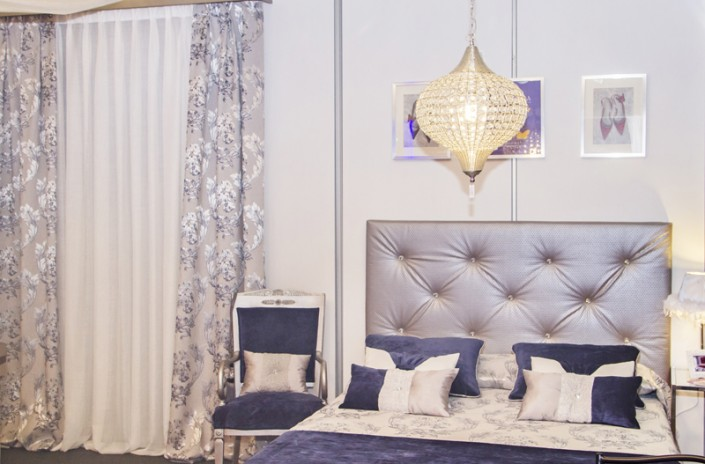 Headboards with crystal buttons
